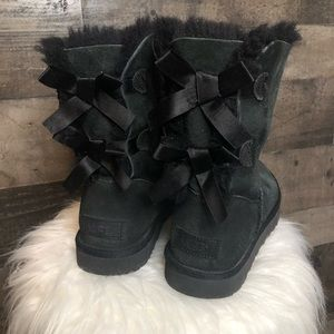 Ugg Black Bailey Bow Boots